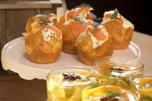 Ofenküchlein mit Lachs, Weihnachtspunsch