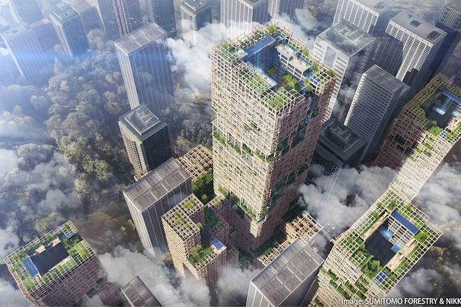 Holz als Material für Wohntürme:  Der Turm W350 in Tokio